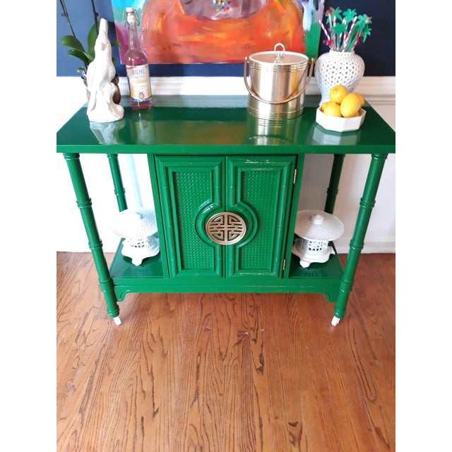 Hollywood Regency Lacquered Green Faux Bamboo Bar Cart For Sale - Image 9 of 13
