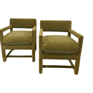 Late 20th Century Baughman Style Armchairs- A Pair For Sale