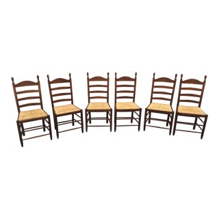 French Country Ladder Back Chairs Set of 6