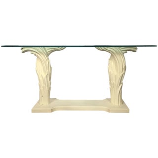 Hollywood Regency Serge Roche Style Palm Tree Console Table, 1970s For Sale