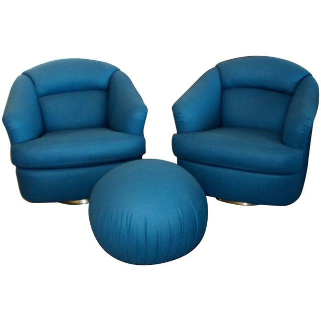 Pair of Chairs With Ottoman From Directional For Sale - Image 10 of 10