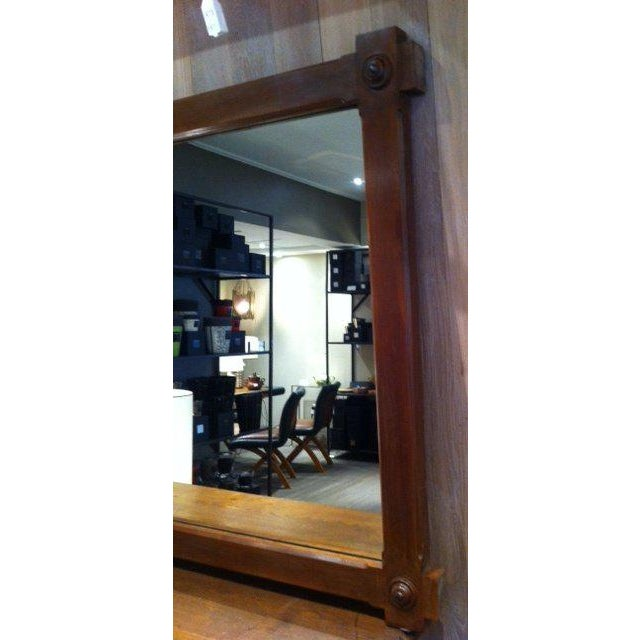 Large-Scale French Oak Mirror with Hand-Carved Cabochon Detail - Image 3 of 5