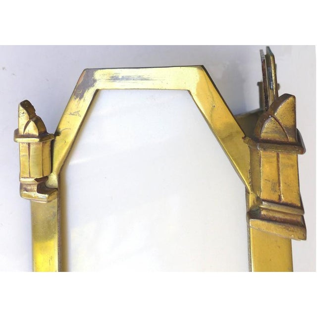 Gold 1930s American Art Deco Bronze and Glass Theater Sconces - A Pair For Sale - Image 8 of 10