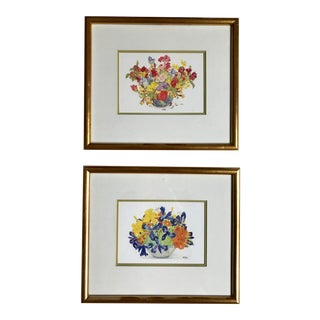 Framed Floral Prints by Susie Martin - A Pair For Sale