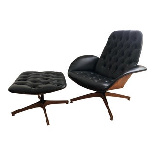 1960s Vintage Plycraft by George Mulhauser Swivel Lounge Chair & Ottoman - 2 Pieces For Sale
