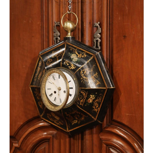 French 19th Century, French Napoleon III Black and Gilt Painted Tole Wall Clock For Sale - Image 3 of 10