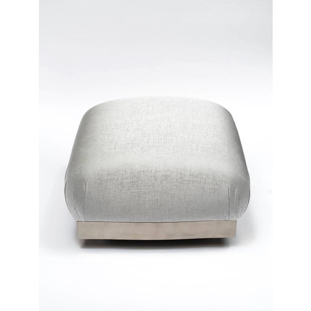 1970s Hollywood Regency Oversized Ottoman or Pouf With Soufflé Design For Sale - Image 5 of 9