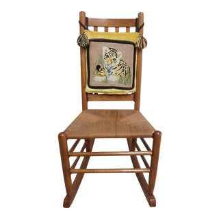 Antique Rush Seat Needle Point Rocking Chair For Sale