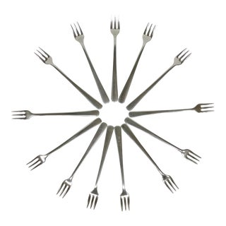 Vintage Stainless Steel Olive Forks- Set of 13