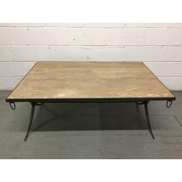 Mid-Century Modern Travertine Top and Wrought Iron Coffee Table For Sale - Image 3 of 7