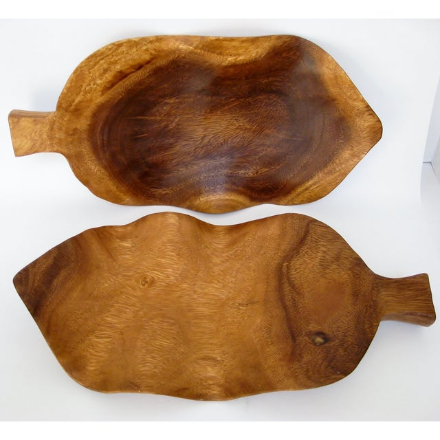 Lodge Wood Leaf Accents - a Pair For Sale - Image 3 of 5