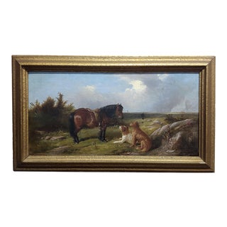 19th Century English School -Horse & Two Dogs in Landscape-Oil Painting For Sale