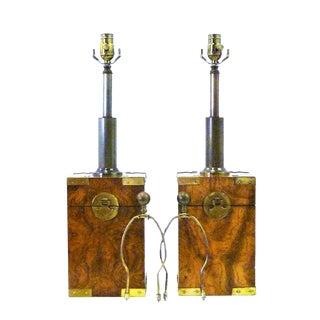 1970s Campaign Style Burl Wood Faux Tea Box Shape Table Lamps - a Pair For Sale