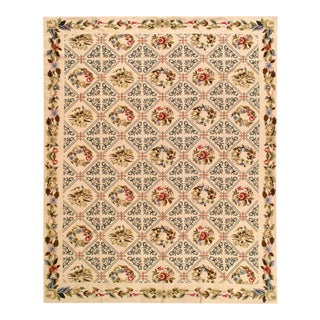 Beige Fine Hand Knotted Abusson Rug 7'6'' X 9'9'' For Sale