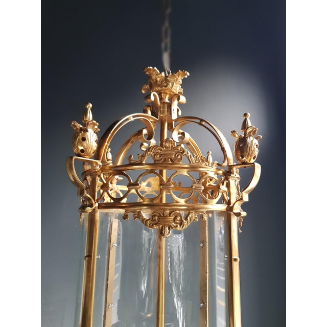Gold 6 Aviable Large Cylindrical Lantern in Louis XVI Style Brass Glass Pendant Lighting For Sale - Image 8 of 10