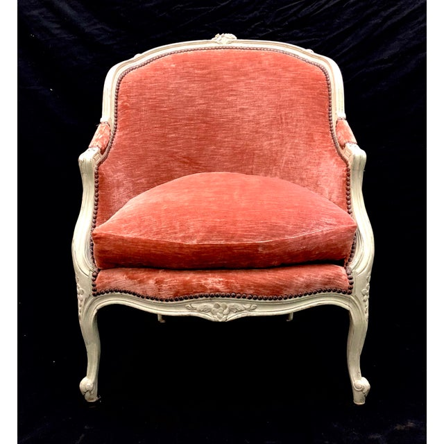 Antique French Louis XV Style Rose Velour Bergere Armchair with Nailhead Trim For Sale - Image 13 of 13