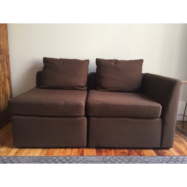 Mitchell Gold Brown Modular Loveseat - Image 2 of 6