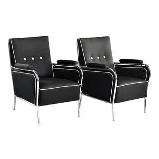 French Mid Century Chrome Framed Club Chairs in Black With Ivory Detailing - Pair For Sale