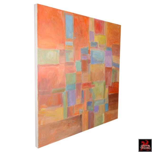 Abstract Urban Mosaic Signed Original Painting For Sale - Image 3 of 6