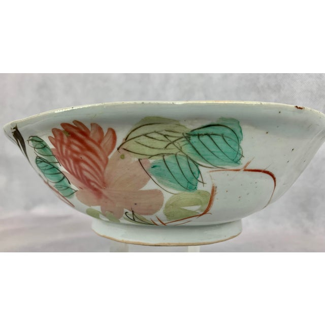 Chinese Chinese Porcelain Bowl With Flowers and Poem on the Reverse For Sale - Image 3 of 8