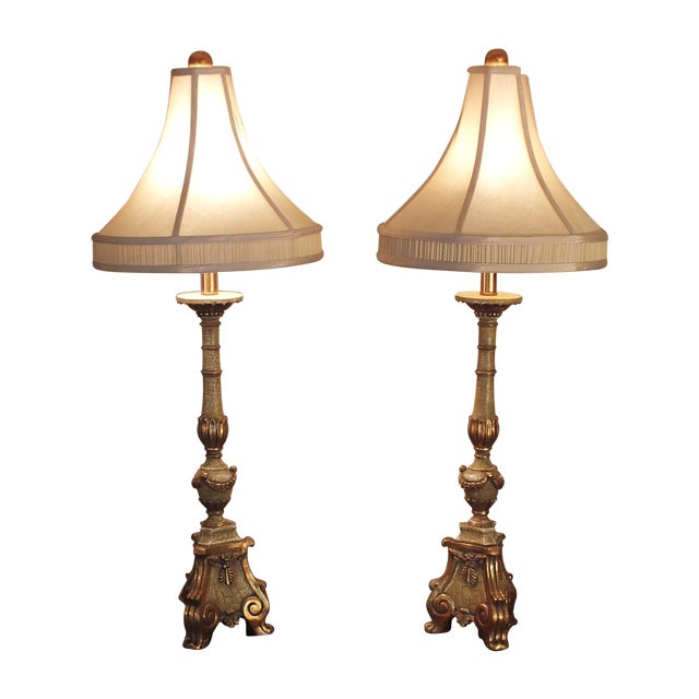 Italian Florentine Candlestick Lamps - a Pair - Image 1 of 10