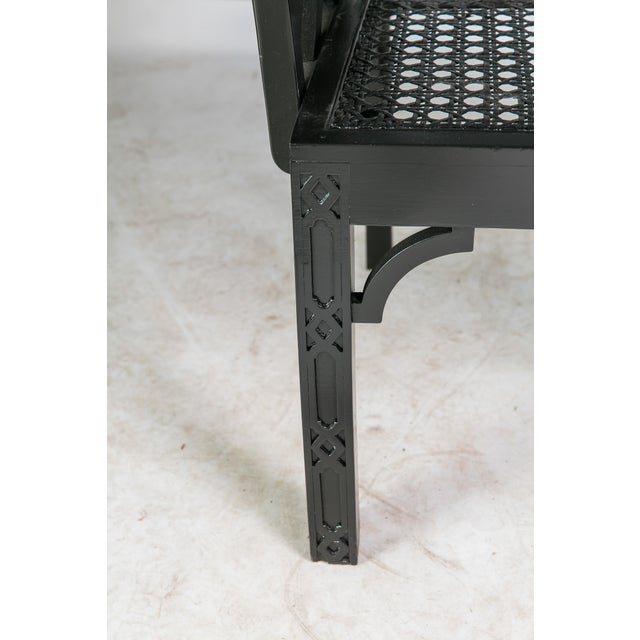 1980s Vintage Madcap Cottage Black Chinoiserie Fretwork Chairs-a Pair For Sale In Greensboro - Image 6 of 13