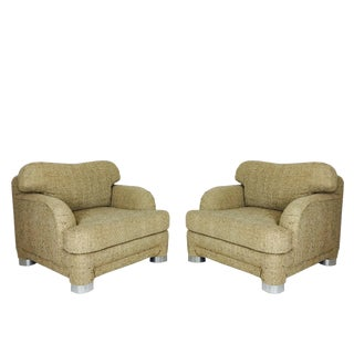 Pair of 1980s Lounge Chairs and Ottoman in the Style of Marge Carson For Sale