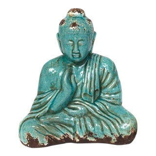 Asian Modern Turquoise Ceramic Sitting Buddha Statue