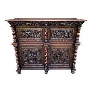 Antique French Oak Liquor Cabinet Bar Sideboard Server Barley Twist For Sale