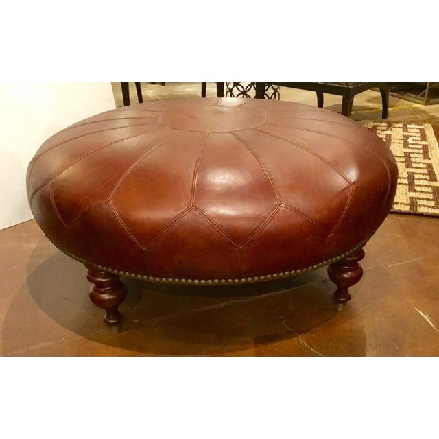 Animal Skin Henredon Leather Granby Ottoman For Sale - Image 7 of 7