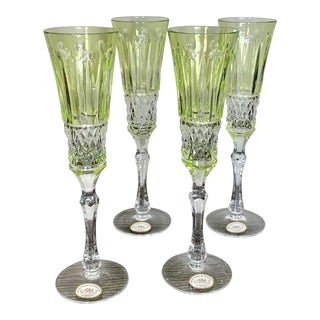 Faberge Design Yellow Hand Cut Crystal Champagne Glasses - Set of 4 For Sale