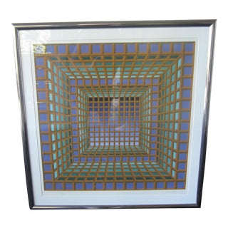 1970s Mid-Century Victor Vasarely Signed/Numbered Lithograph Print For Sale