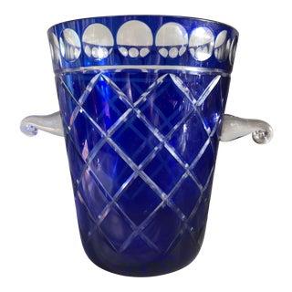 Bohemian Cobalt Blue Cut Glass Ice Bucket For Sale