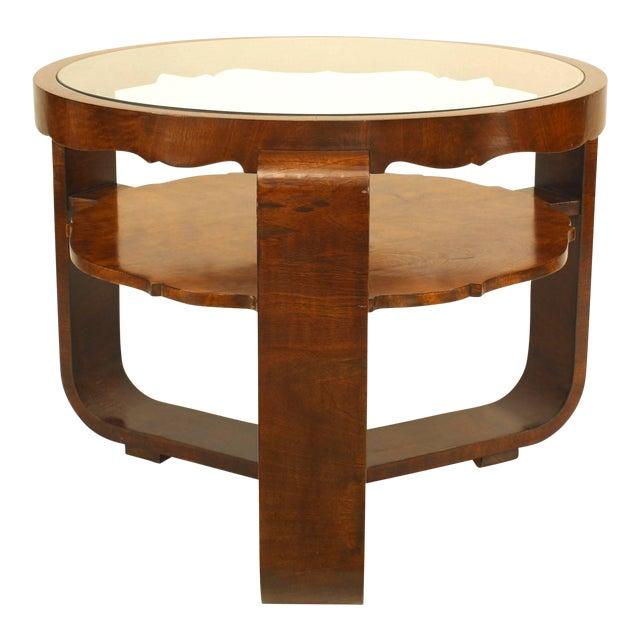 Italian 1940s Burl Walnut Circular Coffee Table For Sale