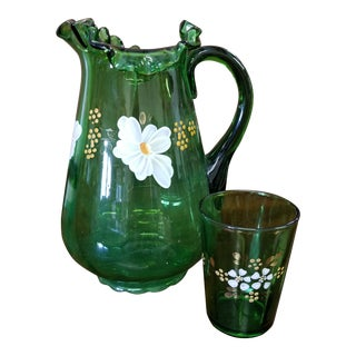 1970s Art Deco Emerald Green Hand Painted Pitcher and Glass - 2 Pieces