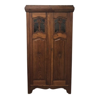 Vinatge Two Door Oak & Glass Cupboard