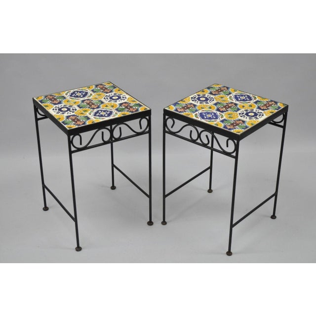 California Style 9 Tile Yellow Blue Green Wrought Iron Side Tables - a Pair - Image 10 of 11