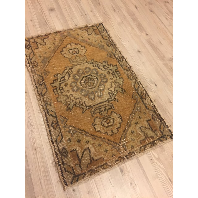 Islamic Turkish Hand Kontted Faded Rug - 1′8″ × 2′7″ For Sale - Image 3 of 6