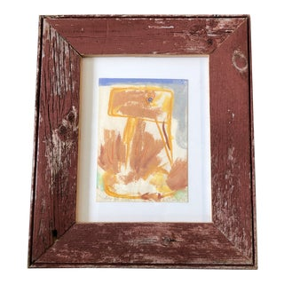 "Original Vintage Robert Cooke Abstract "" Yellow Bill Duck"" Painting Barn Wood Frame For Sale"