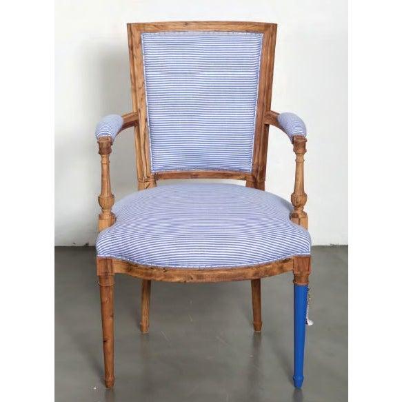 Wood Bunakara Fingerprint Basic Stripe Arm Chair in Ultra Marine Blue For Sale - Image 7 of 7