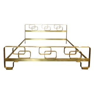 Italian Mid-Century Modern Solid Brass Bed With Geometrical Motives From 1960s