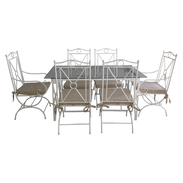 Image of Handmade White Wrought Iron Patio Dining Set