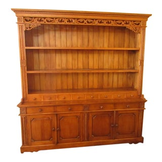 Carved Pine Cabinet Hutch