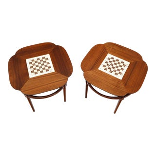 Pair of Clover Shape Tile and Walnut Top Round End Side Occasional Tables For Sale