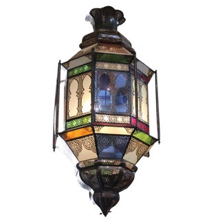 Moroccan Large Brass & Colored Glass Lantern For Sale