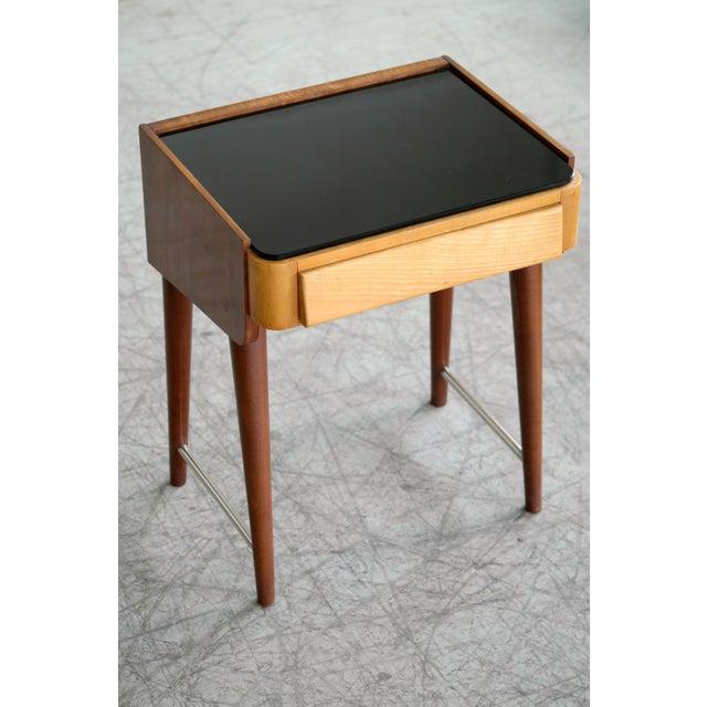 Elm Pair of Danish Midcentury Nightstands in Teak and Elm With Black Glass Top For Sale - Image 7 of 11