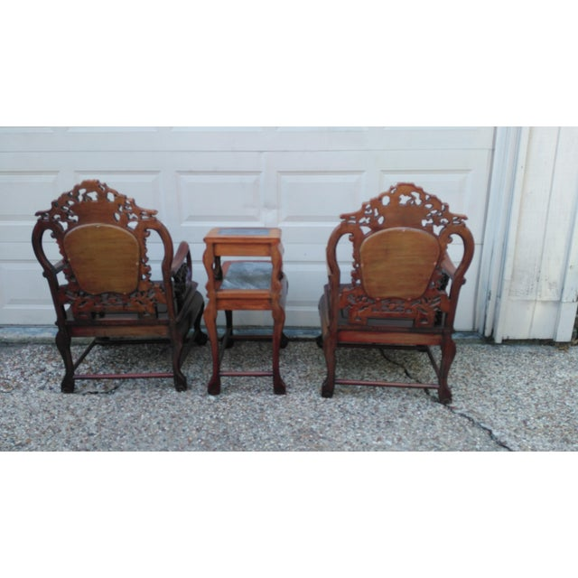 Chinese Carved Solid Rosewood Marble Back Armchairs - a Pair For Sale In Houston - Image 6 of 9