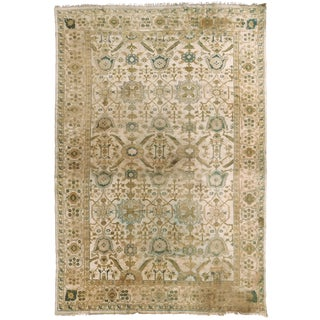 Distressed Antique Hand Knotted Indo-Oushak Rug - 12′ × 17′6″