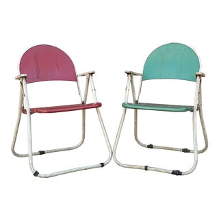 Mid Century Samson Russell Wright Folding Chairs - a Pair For Sale
