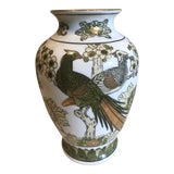 Image of 1960s Chinoiserie Gold Imari Hand Painted Vase For Sale